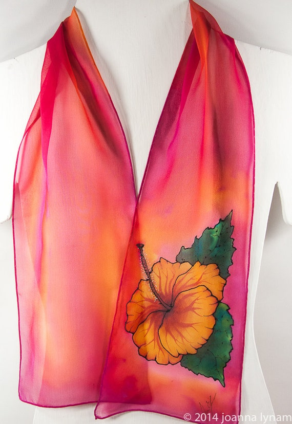 painted silk scarves hibiscus silk scarf by sirensilks