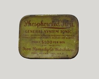 Pill Box Tin Medical Advertising Container Phosphorated Iron Tonic Yellow Green  Sale