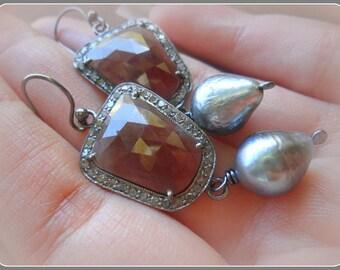 Natural Pave Diamond Earrings, Rose Cut Pink Sapphire Earrings, Tahitian Pearl Earrings, Genuine Diamond and Sapphire Earrings, Fine Jewelry