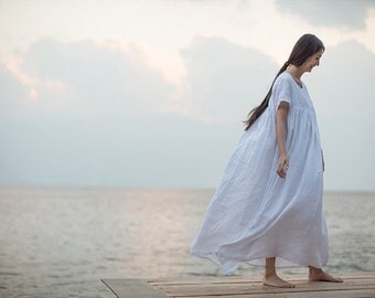 maxi linen dress in white, White Beach Dress, Summer Holiday Trip, full length dress, Long linen dress, Linen wedding dress, plus size