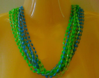 Vintage 1950s Lucite Flapper Necklace Green Blue Tornado Beaded Necklace Multi Strand Estate Jewelry