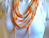 Hand Knit Lariat Necklace, Orange Ombres Rope Scarf, Infinity Loop Necklace, Fiber Jewelry, Summer Scarf, Gifts for Her