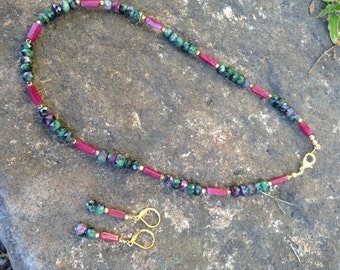 "Ruby Zoisite necklace, Ruby Zoisite jewelry, Valentines Day jewelry, Red Aventurine necklace, Gemstone jewelry, ""Paia"""