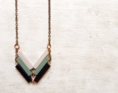 Wood Geometric Necklace // WINTER WAVES // Minimal Jewelry // Black-White-Mint Hand-Painted Necklace // Modern Necklaces