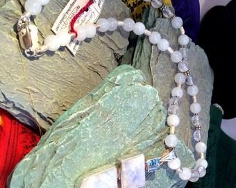 "SALE Elegant 20"" Hinged Rainbow Moonstone & Blue Topaz Pendant Necklace. Sterling Silver, Crystal,  free US ship 219.00"