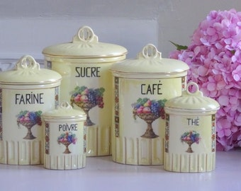 French Antique Set of Porcelain Canister Art Deco // China Canister