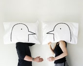 Love Birds Pillow case Set, gift for her couples gift for women, gift for husband, cotton bedding, turtle doves, by Xenotees