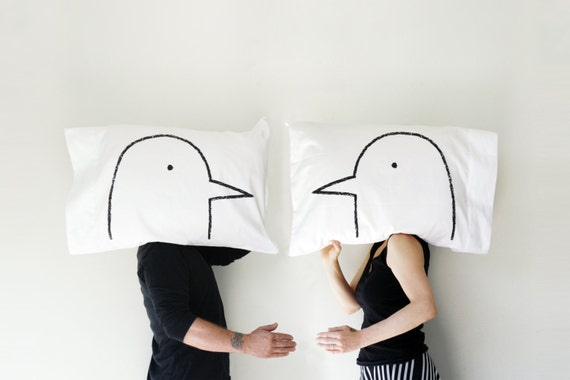 Gag Wedding Gifts For Couples: 2 Year Anniversary Cotton Couples Pillows Lovebirds His Hers