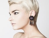Lace earrings - May 68 - Black, purple-slate & porto lace, with antiqued copper