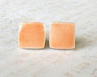 Petite Porcelain Earrings. Tangerine Orange Squares. Melon. Coral. Papaya. Post or Stud Earrings. Surgical Steel. Cute. Lightweight. Comfy