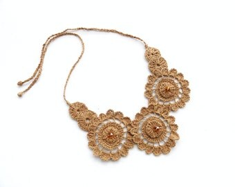 Crochet Necklace - Choker - Natural Linen Necklace - Circle Necklace - Floral Necklace