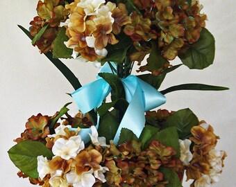 Tall silk flower arrangement, Brown light blue Teal, Vase artificial flower centerpiece,  Silk floral arrangement, Home decor, Silk flowers