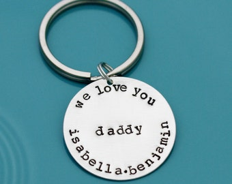 Sterling Silver Key Chain Hand Stamped Personalized Custom Fathers Day Gift ring keychain handstamped Grandfather Grandpa Father keyring dad