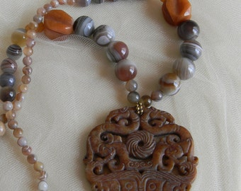 Round jade dragon pendant w Botswana agate beads necklace , beaded jewelry , Chinese carved jade pendant , jade jewelry , Asian jade jewelry