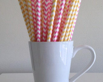 Pink and Yellow Paper Straws Pink and Yellow Chevron Party Supplies Party Decor Bar Cart Cake Pop Sticks Mason Jar Straws Graduation