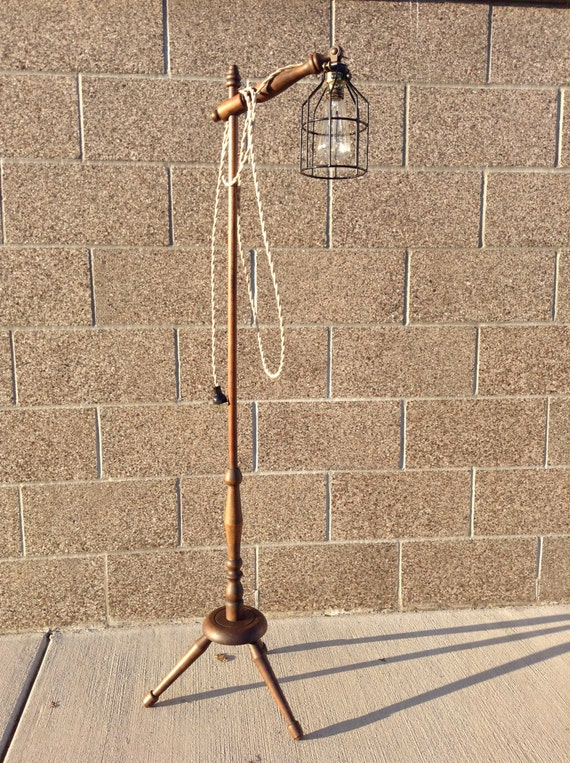 Antique adjustable wood tripod lamp vintage by for Antique floor lamp with clock
