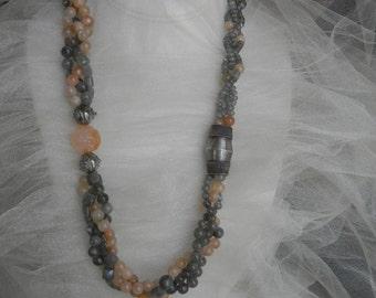 Sunstone & labradorite beads w antique silver charm necklace , European/ Chinese silver , sunstone jewelry , labradorite jewelry , unusual