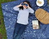 Picnic Blanket, Ready to Ship, ORGANIC Picnic Blanket with Waterproof Backing, Galaxy