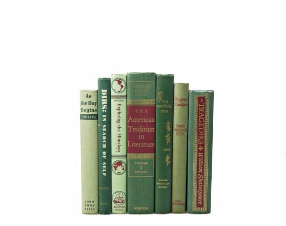 GREEN  Decorative Books 1950s Book  Decor, Decorating by Color, WEdding Centerpiece, Interior Design, Home Decor Book Collection Set Antique