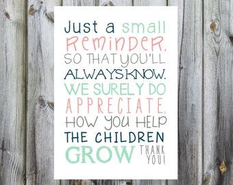 Teacher Gift. Teacher Appreciation Poem Print. Print and Pop into any frame. DIY Instant Download Print from Home. Teacher Day Gift
