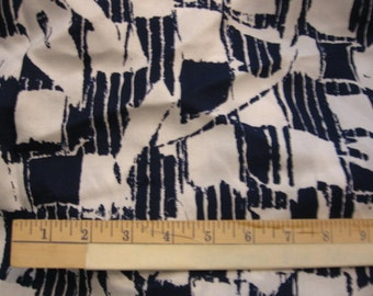 Navy and White polyester print.