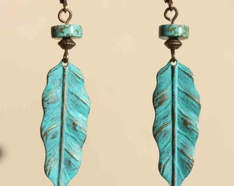 Turquoise Earrings Boho Bohemian Earrings Leaf earrings Feather Earrings Patina Earrings Dangle Jewelry Gift Ideas