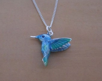 """925 Sterling Silver Solid Blue Hummingbird Pendant on 16"""", 18"""" or 20"""" Silver Curb Chain"""