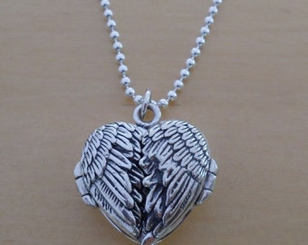 """925 Sterling Silver Love HEART Photo Locket Angel Wings Pendant on 19"""", 20"""" or  24"""" Silver Curb, Ball or Robe Chain"""