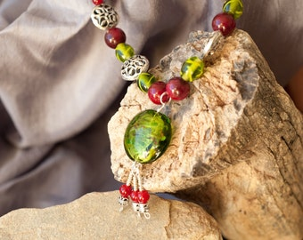 Necklace and Earrings Set, Lampwork Glass Green Pendant, Green Necklace, Green Earrings, Red and Green necklace, Free Shipping,Item #148