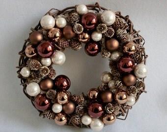 Elegant Christmas wreath with glass balls