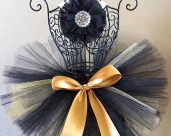 Black and Gold Tutu Set, Glitter Tutu, Baby Tutu, Black Flower Headband, Infant Tutu, Toddler Tutu, Newborn Tutu, Tutu Set, Photo Prop