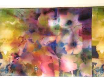 """Spring Flower Power Silk Scarf from Original Watercolor, 13"""" X 68"""""""