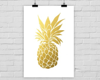 fine-art print pinapple fake gold