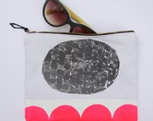 Zipper pouch, small, painted, canvas, handmade, neon, abstract, modern