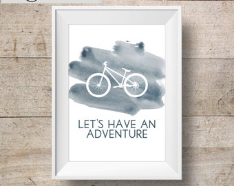 Adventure INSTANT DOWNLOAD 8x10 Printable Watercolor Art Print, Bicycle, Home Decor Wall Gallery Print