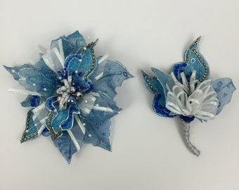 Sparkly Blue And Silver Poinsettia Corsage And Boutonnière Set