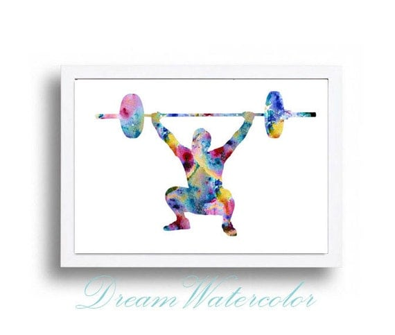 Poster Weights Etsy: Watercolor Print Weightlifting Illustration Watercolor