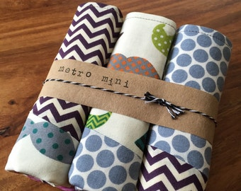 Patchwork mustache chevron burp cloths - set of 3 - cotton with flannel backing