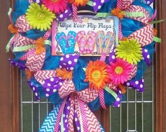 Summer Flip Flop Mesh Wreath