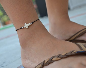 Bone Cross Anklet