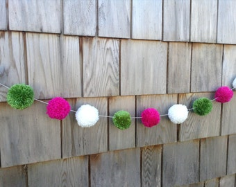 Yarn Pom Pom Garland: Green, Pink and White