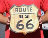 Handcrafted Vintage Route 66 Sign Road Trip Replica Plasma Cut Sign Long Distance Driving Metal Steel Great Restaurant Sign 2016 (PSS00005)
