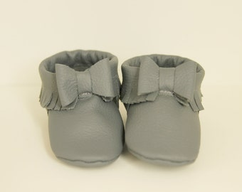 Grey Authentic Leather Baby Bow Moccasins