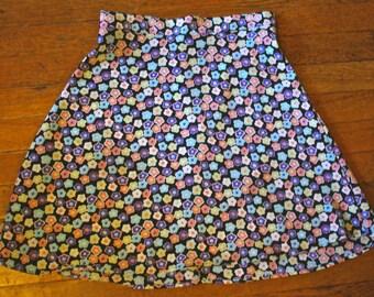High-waisted floral print skirt
