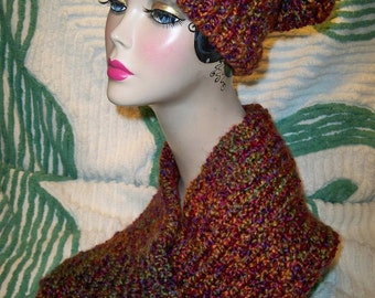 Sale! Chunky Knit Slouchy Beanie and Neck Warmer Hat and Scarf Set Homespun Yarn Handmade