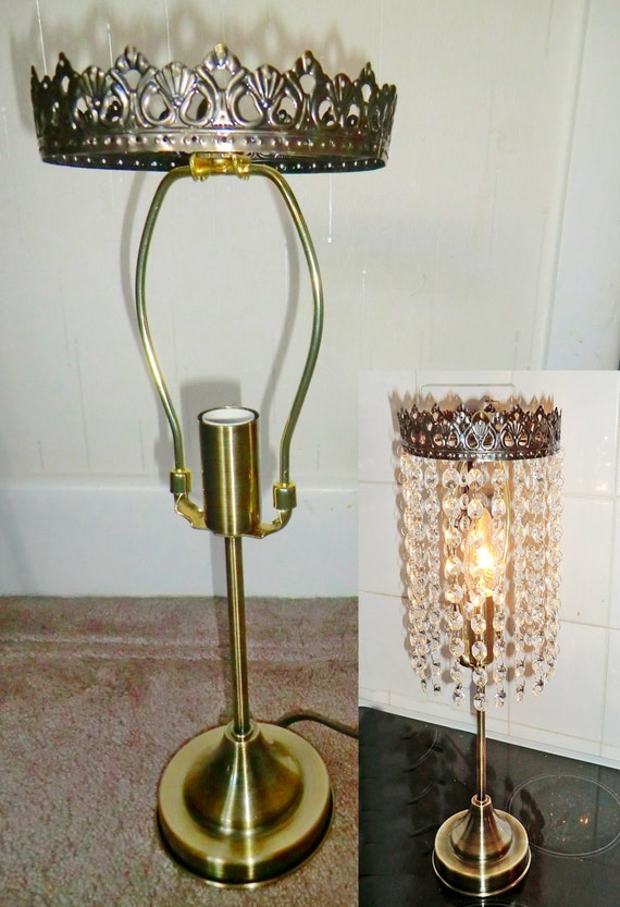 Chandelier metal table lamp frame skeleton make by seearlights for How to make a chandelier out of a lamp shade