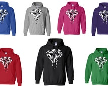 FREE SHIPPING (All Over US) -Hooded Sweatshirt - White Camouflage Dripping Diamond - Melting Diamond - Hoodie - Sweatshirt