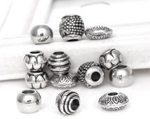 50Pcs Mixed Silver Tone Acrylic Spacers Beads Big Hole Beads Fit European Charm Bracelet