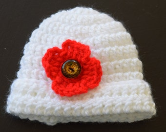 Newborn's White with Red Rememberance Poppy Crochet Hat
