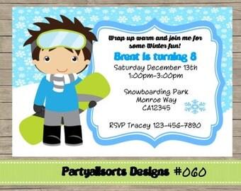 060 DIY - Boys Snowboard Fun Party Invitations Card